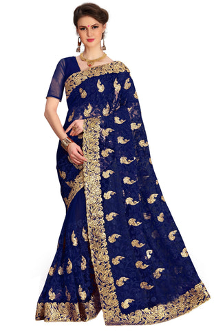 Blue Color Net Women's Saree - sari-675blue
