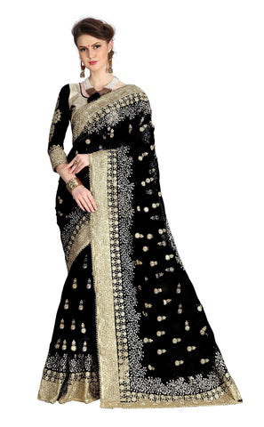 Black Color Net Women's Saree - sari-680black