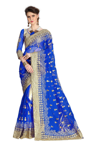 Blue Color Net Women's Saree - sari-680blue