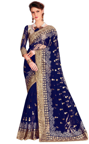 Blue Color Net Women's Saree - sari-680navyblue