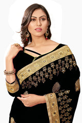 Black Color Silk Women's Saree - sari-697Black