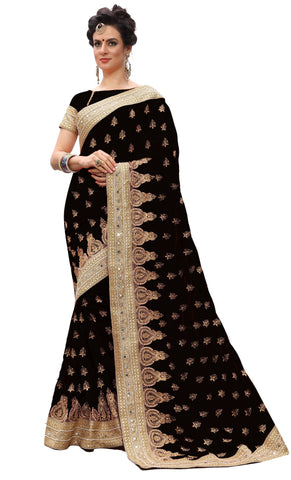 Black Color Silk Women's Saree - sari-700Black