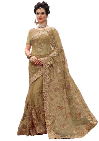 Beige Color Net Women's Saree - sari-705Beige
