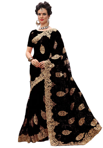 Black Color Net Women's Saree - sari-705Black