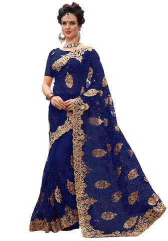 Blue Color Net Women's Saree - sari-705Blue