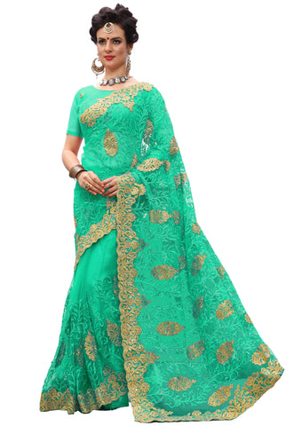 Green Color Net Women's Saree - sari-705Green