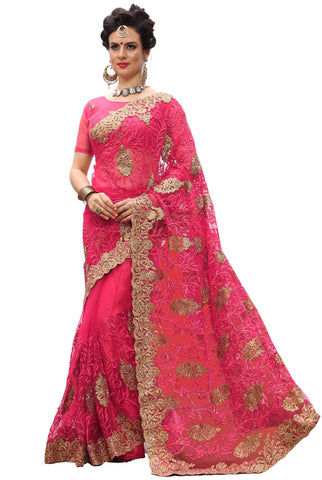 Pink Color Net Women's Saree - sari-705Pink