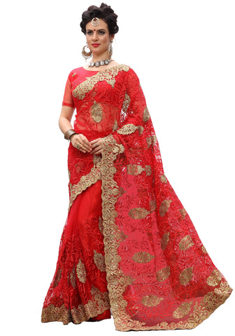 Red Color Net Women's Saree - sari-705Red
