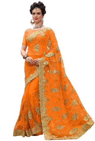 Orange Color Net Women's Saree - sari-705orange
