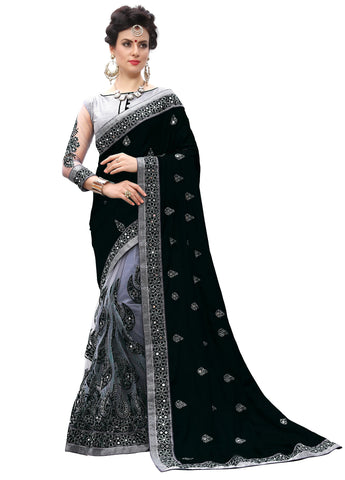 Black Color Silk Women's Saree - sari-710Black