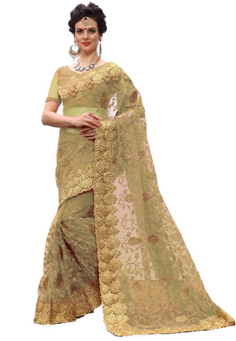 Beige Color Net Women's Saree - sari-713Beige
