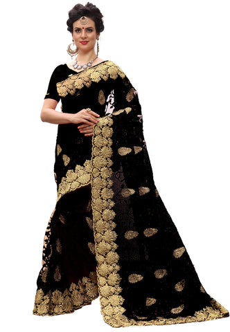 Black Color Net Women's Saree - sari-713Black