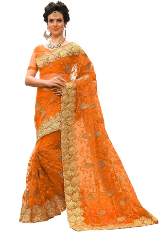 Orange Color Net Women's Saree - sari-713Orange