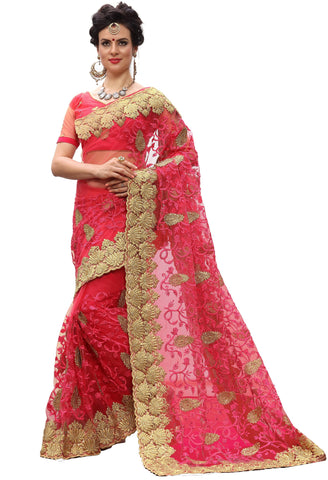 Pink Color Net Women's Saree - sari-713Pink