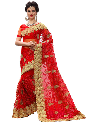 Red Color Net Women's Saree - sari-713Red