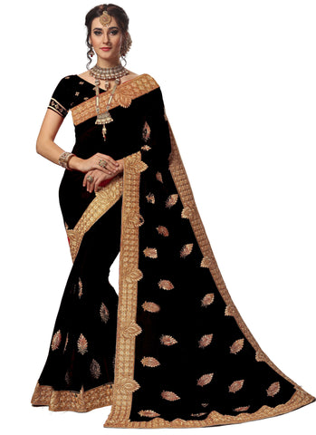 Black Color Georgette Women's Saree - sari-714.black