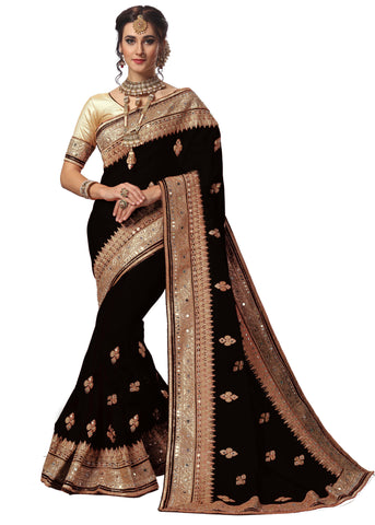 Black Color Satin Women's Saree - sari-715black