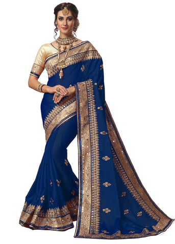 Blue Color Satin Women's Saree - sari-715blue