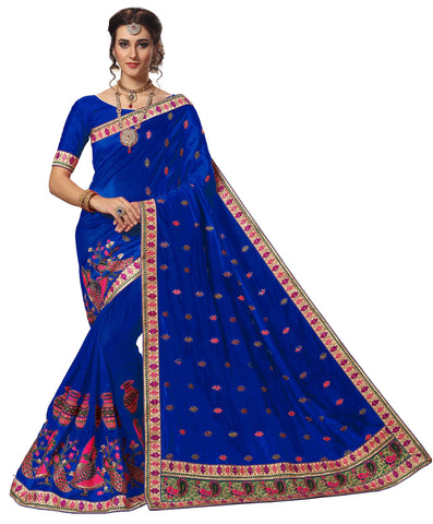 Blue Color Silk Women's Saree - sari-720blue
