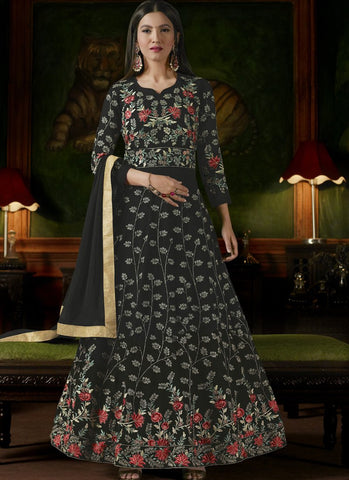 Black Color Apple Georgette Semi-Stitched Salwar - sashi18-12156