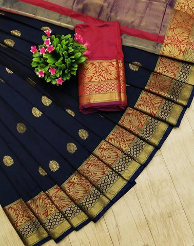 Navy Blue Color Silk Women's Saree - sav-78