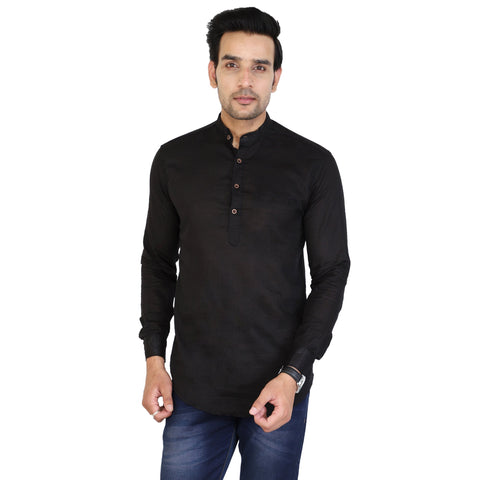 Black Color Cotton Men's Solid Short Kurta - sh-kurta-black