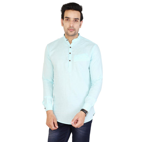 Light Blue Color Cotton Men's Solid Short Kurta - sh-kurta-lightblue