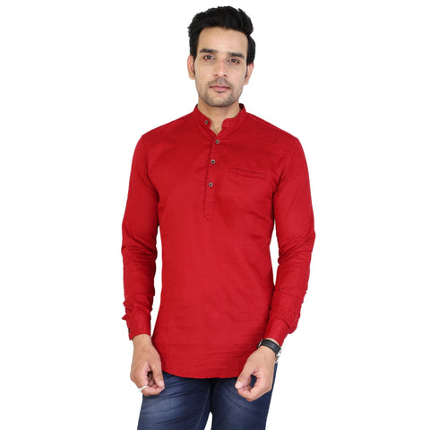 Maroon Color Cotton Men's Solid Short Kurta - sh-kurta-maroon