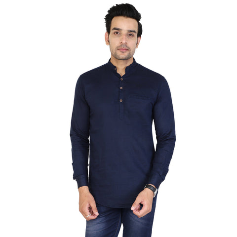 Navy Blue Color Cotton Men's Solid Short Kurta - sh-kurta-navyblue