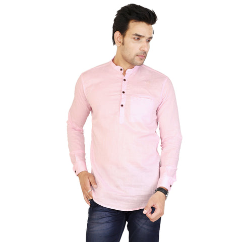 Pink Color Cotton Men's Solid Short Kurta - sh-kurta-pink