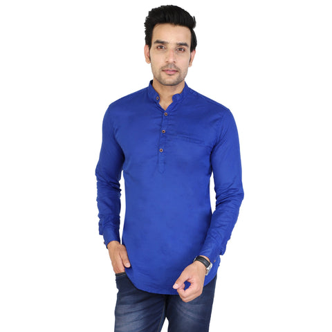 Royal Blue Color Cotton Men's Solid Short Kurta - sh-kurta-royalblue