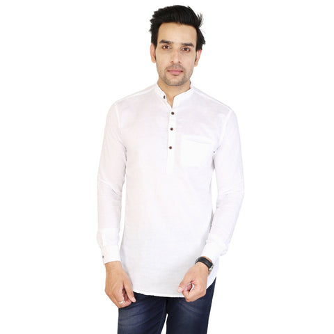 White Color Cotton Men's Solid Short Kurta - sh-kurta-white