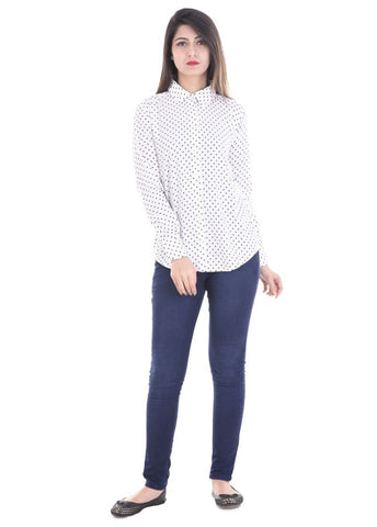 White Color Crepe Women Shirt - sh01