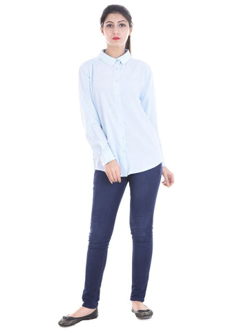 Sky Blue Color Crepe Women Shirt - sh02