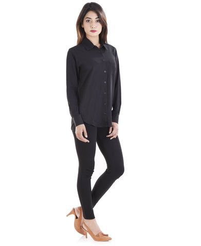 Black Color Crepe Women Shirt - sh03