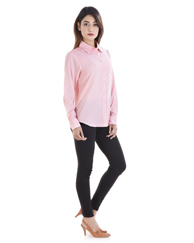 Pink Color Crepe Women Shirt - sh04