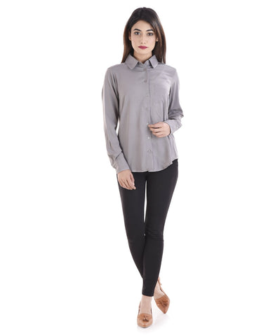 Grey Color Crepe Women Shirt - sh05