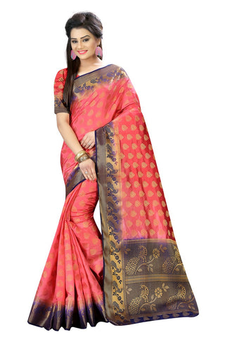 Peach Color Nylon Dyeable Saree - siya-2016