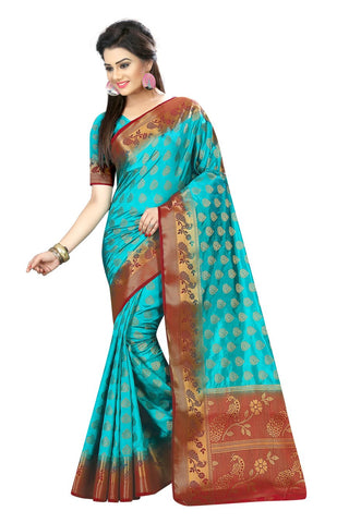 Sky Blue Color Nylon Dyeable Saree - siya-2017