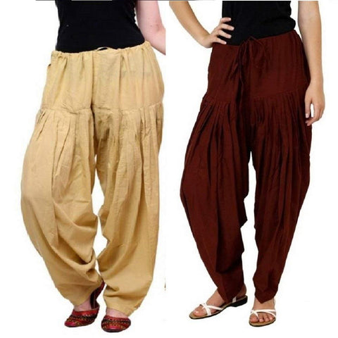 COMBOS  - Skin And Mrn Color Cotton Stitched Women Patiala Pants - skin_mrn
