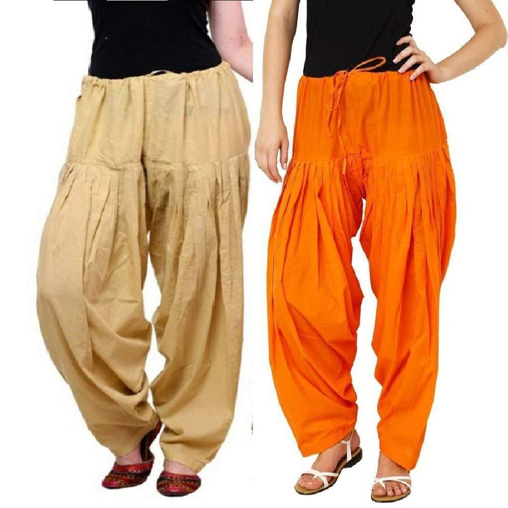 Buy COMBOS  - Skin And Orange Color Cotton Stitched Women Patiala Pants