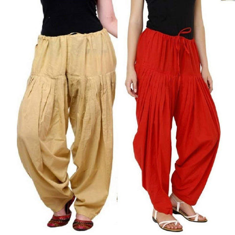 COMBOS  - Skin And Red Color Cotton Stitched Women Patiala Pants - skin_red