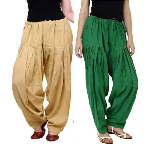 COMBOS - Multi Color Cotton Stitched Women Patiala Pants - skingreen