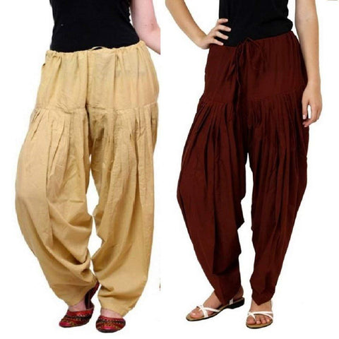 COMBOS - Multi Color Cotton Stitched Women Patiala Pants - skinmaroon
