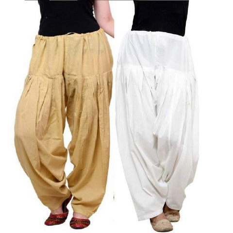 COMBOS - Multi Color Cotton Stitched Women Patiala Pants - skinwhite