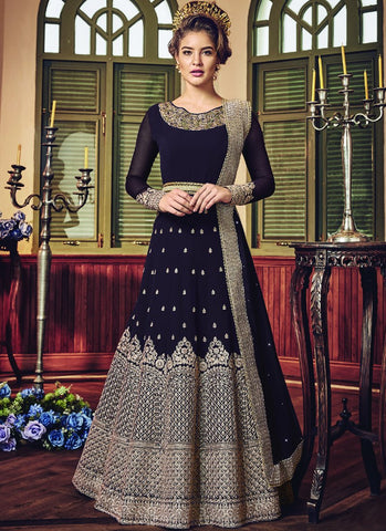 Brown Color Ultimate Georgette Semi-Stitched Salwar - snowwhite-5801
