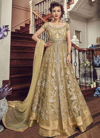 Cream Color Premium Net Semi-Stitched Salwar - snowwhite-5802
