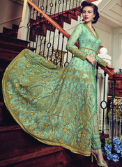Buy Sea Green Color Premium Net Semi-Stitched Salwar