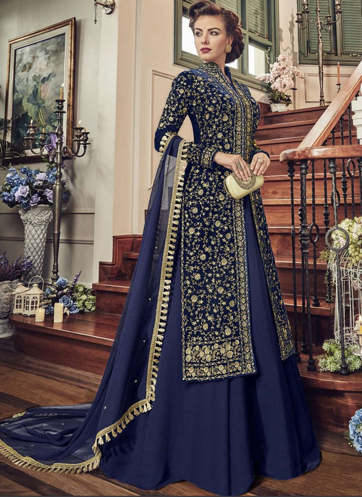 Buy Navy Blue Color Georgette Semi-Stitched Gown