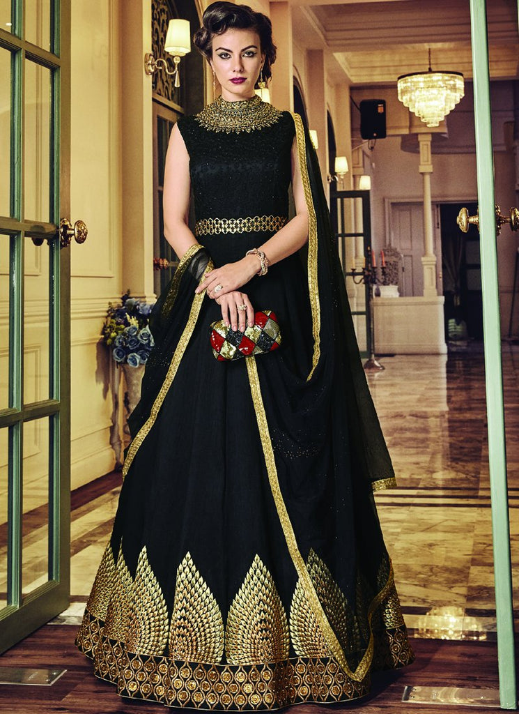 Buy Black Color Banglori Silk Semi-Stitched Salwar
